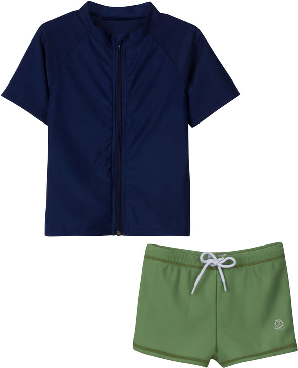 "Little Boy Euro Shorties Rash Guard Set | ""Bon Voyage"" Niagara / Kale"
