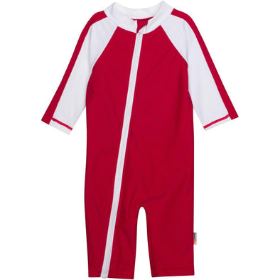Infant boy one piece UV sunsuit by SwimZip red zip upf sun