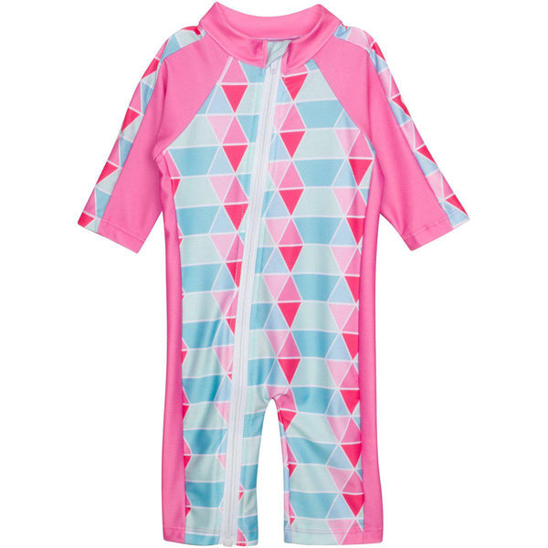 "Sunsuit - ""Pool Party"" Pink - Girl Long Sleeve Romper with UPF 50+ UV Sun Protection"