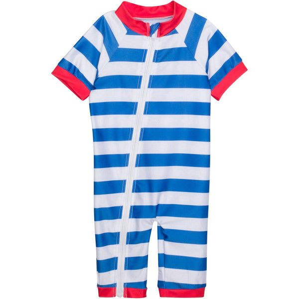 "Sunsuit - ""Crabby Pants"" Boy Short Sleeve Romper UPF 50+ UV Protection"