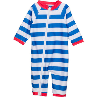 Infant long sleeve baby sunsuit romper swimsuit blue stripe crab upf uv by swimzip
