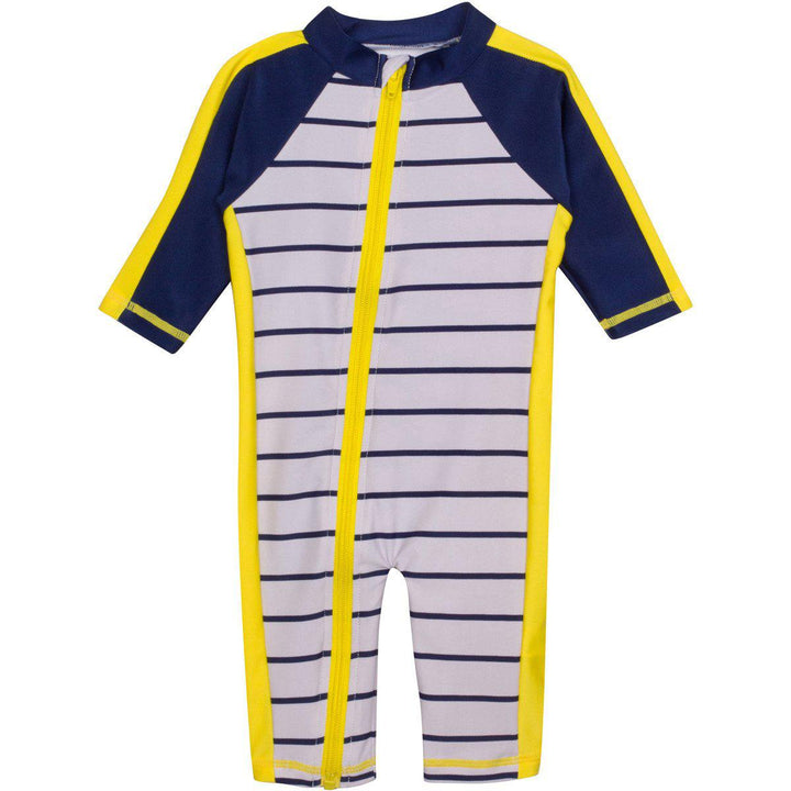 "Sunsuit - ""Hamptons Getaway"" Boy Long Sleeve Romper with UPF 50+ UV Sun Protection - SwimZip Sun Protection Swimwear"