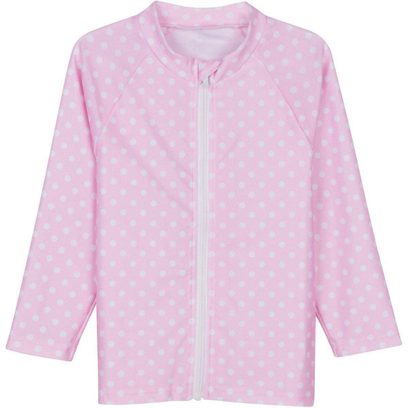 Little Girl Long Sleeve Rash Guard Swim Shirt | Pink with White Polka Dot