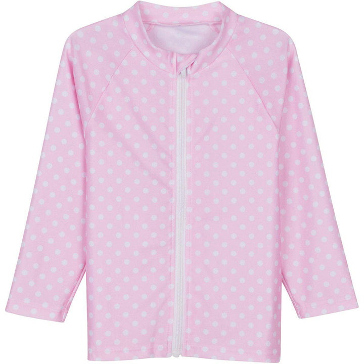 Little Girl Long Sleeve Rash Guard Swim Shirt | Pink with White Polka Dot - SwimZip Sun Protection Swimwear
