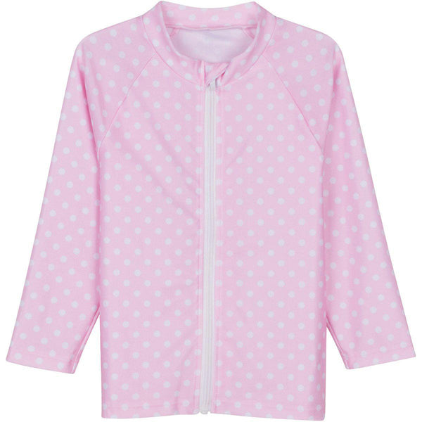 Cutie Cruiser - Pink with White Polka Dot Little Girl Rash Guard Long Sleeve