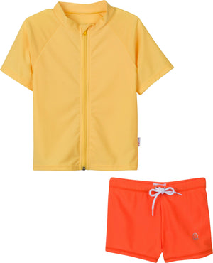 "Kid's Short Sleeve Euro Swim Shorties Rash Guard Set - ""Bon Voyage"" Primrose Yellow / Flame Orange - SwimZip Sun Protection Swimwear"