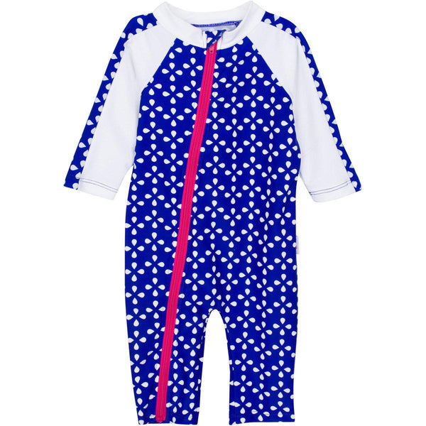 "Sunsuit - ""Flower Power"" Blue - Girl Long Sleeve Romper"