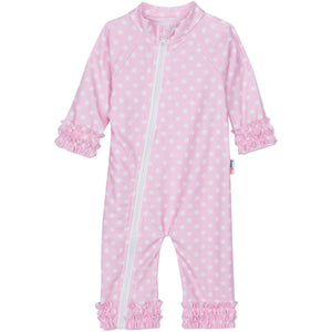 "Sunsuit - ""Sassy Surfer"" Pink - Girl Long Sleeve Romper (1 Piece)-0-6 Month-Pink Polka Dot-SwimZip UPF 50+ Sun Protective Swimwear & UV Zipper Rash Guards-pos1"