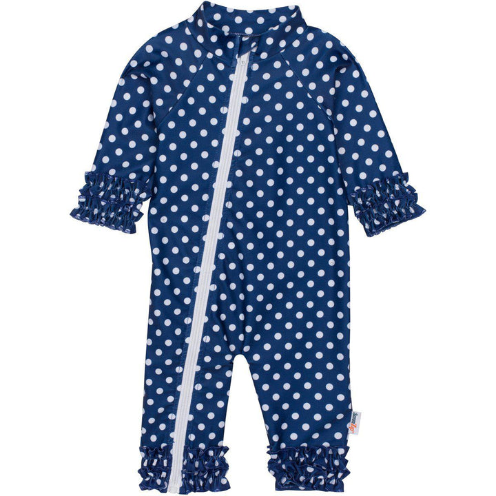 "Sunsuit - ""Sassy Surfer"" Navy Blue - Girl Long Sleeve Romper (1 Piece) - SwimZip Sun Protection Swimwear"