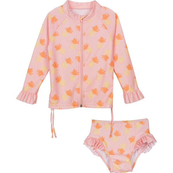 "Little Girl Long Sleeve Girl Rash Guard Swimsuit Set (2 Piece) - ""Sweet Pineapple"""