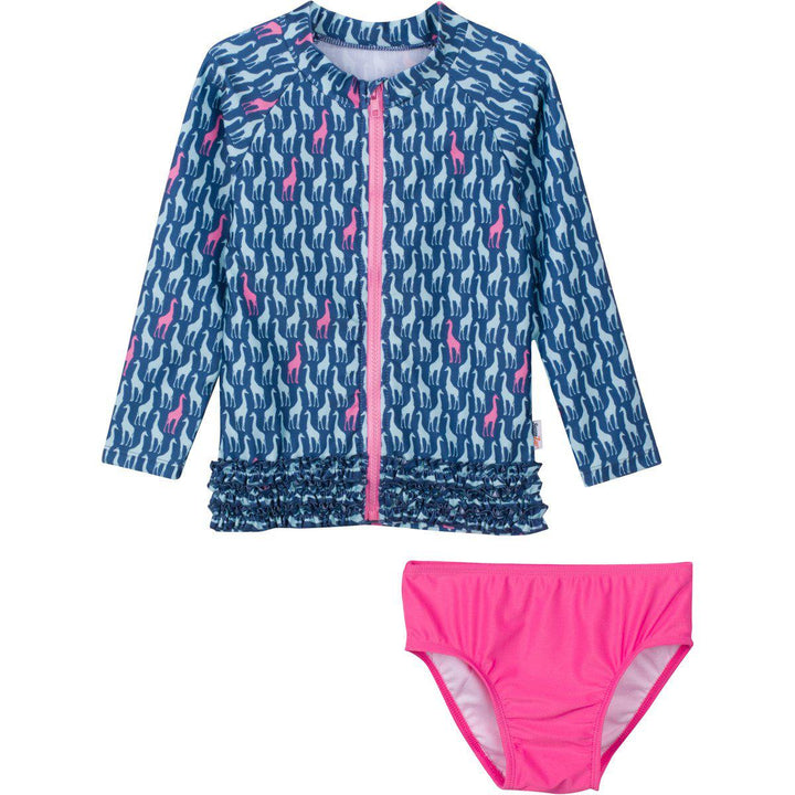 "Little Girl Long Sleeve Girl Rash Guard Swimsuit Set (2 Piece) - ""Surfing Safari"" - SwimZip Sun Protection Swimwear"