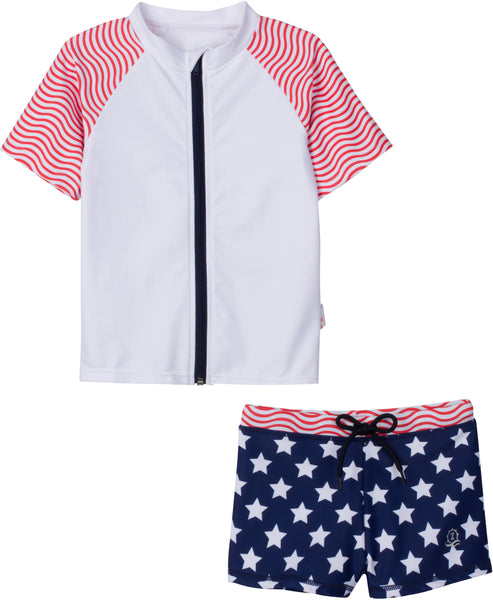 4th of July Fun Short-Sleeve Rash Guard + Shorties