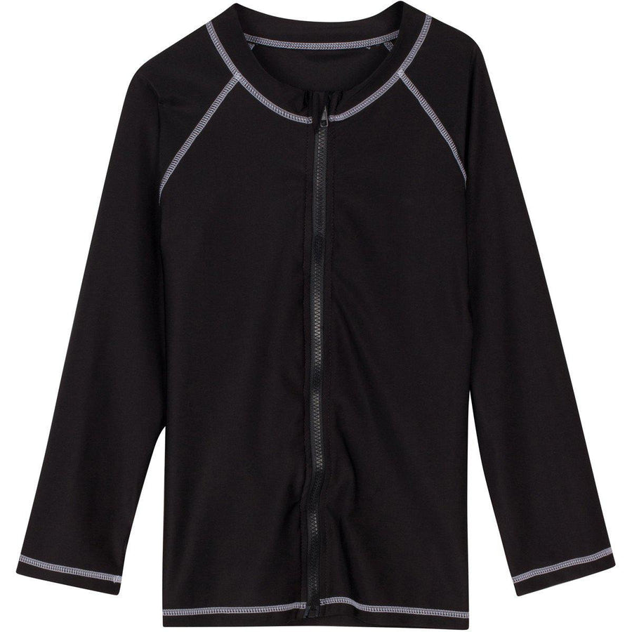 Girl Long Sleeve Rash Guard Swim Shirt UPF 50+ UV SPF| Black Zip Cutie Cruiser