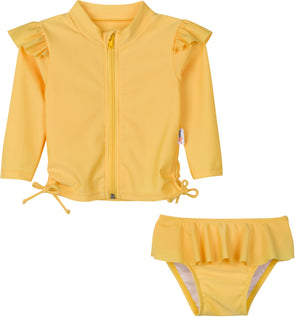 Flutter Love - Primrose Yellow - Long Sleeve Rash Guard Swimsuit Set (2 Piece)