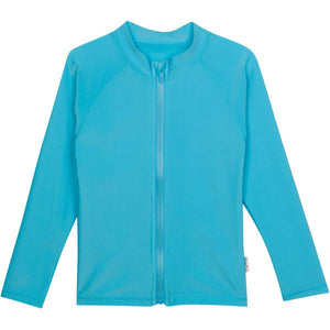 Kid's Long Sleeve Rash Guard Swim Shirt - Aqua - SwimZip Sun Protection Swimwear