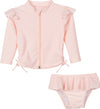 Flutter Love - Blush - Long Sleeve Rash Guard Swimsuit Set (2 Piece)