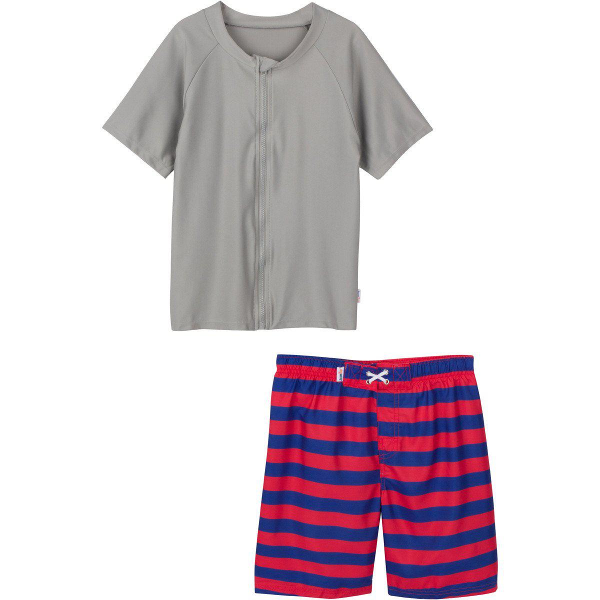 Boy Zipper Rash Guard Blue Red Swim Trunks SwimZip