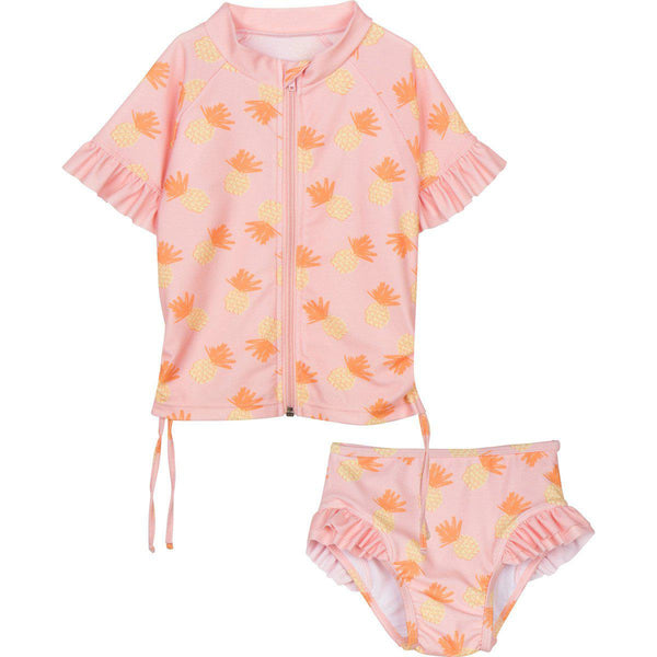 "Little Girl Rash Guard Swimsuit Set SS (2 Piece) - ""Sweet Pineapple"""