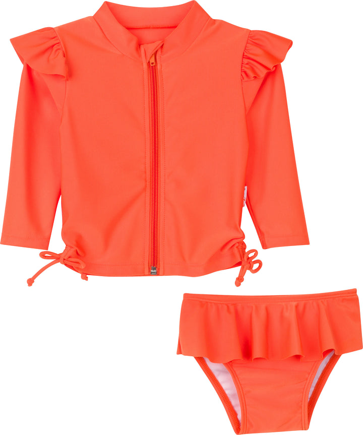 Flutter Love - Flame Orange - Long Sleeve Rash Guard Swimsuit Set (2 Piece) - SwimZip Sun Protection Swimwear