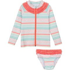Little Girl Long Sleeve Girl Rash Guard Swimsuit Set (2 Piece) -