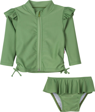 Flutter Love - Kale - Long Sleeve Rash Guard Swimsuit Set (2 Piece)