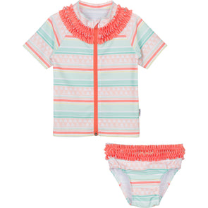 baby sun protection swimwear orange ruffle swimzip