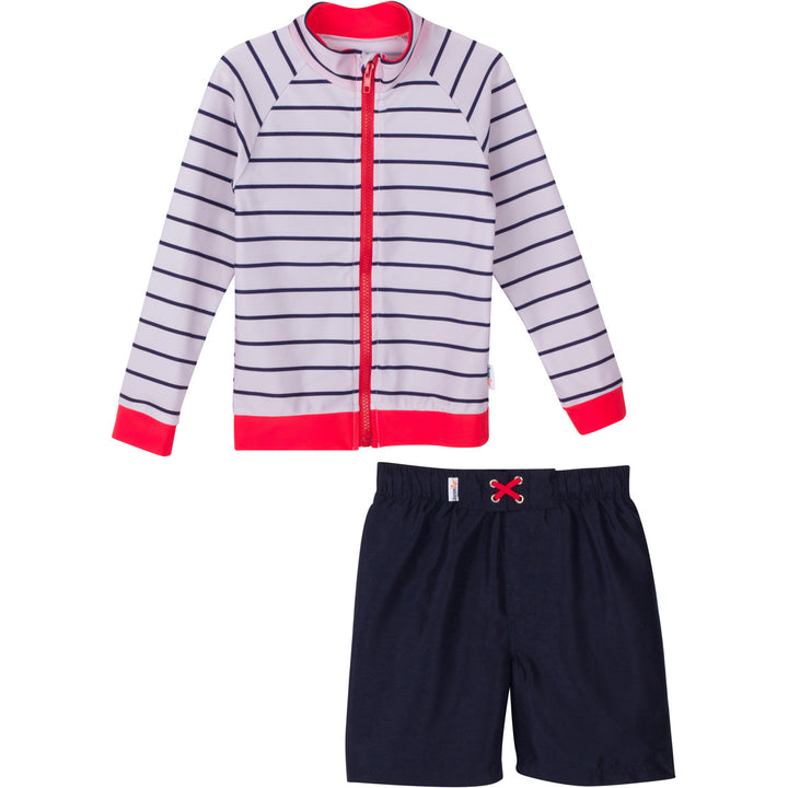 "Baby Boy Long Sleeve Rash Guard Set - ""Hamptons Get Away"" Red - SwimZip Sun Protection Swimwear"