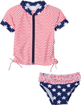 "Girl's Short Sleeve Rash Guard Swimsuit Set (2 Piece) - ""4th of July Fun!""-6-12 Month-Red White and Blue-SwimZip UPF 50+ Sun Protective Swimwear & UV Zipper Rash Guards-pos1"