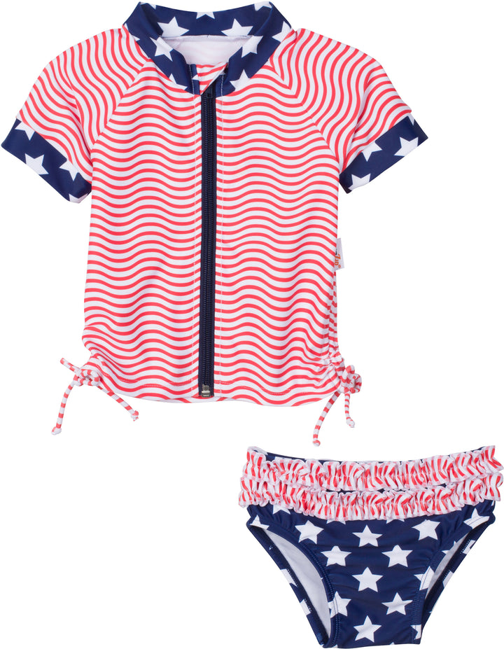 "Girl's Short Sleeve Rash Guard Swimsuit Set (2 Piece) - ""4th of July Fun!"" - SwimZip Sun Protection Swimwear"
