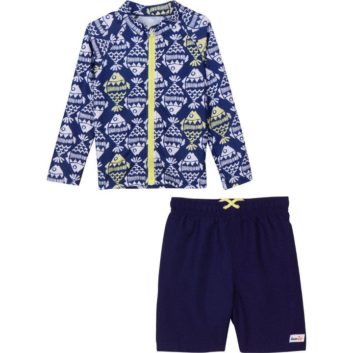 Little Boy Fish Rash Guard swimwear set by SwimZip fish bone swim shirt toddler baby