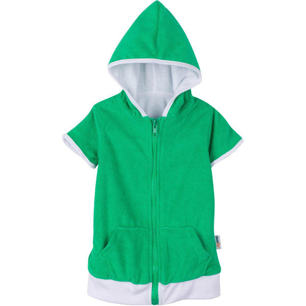 "Child Beach Swimsuit Cover Up Robe with SPF UV Protection - ""Dino Green"""