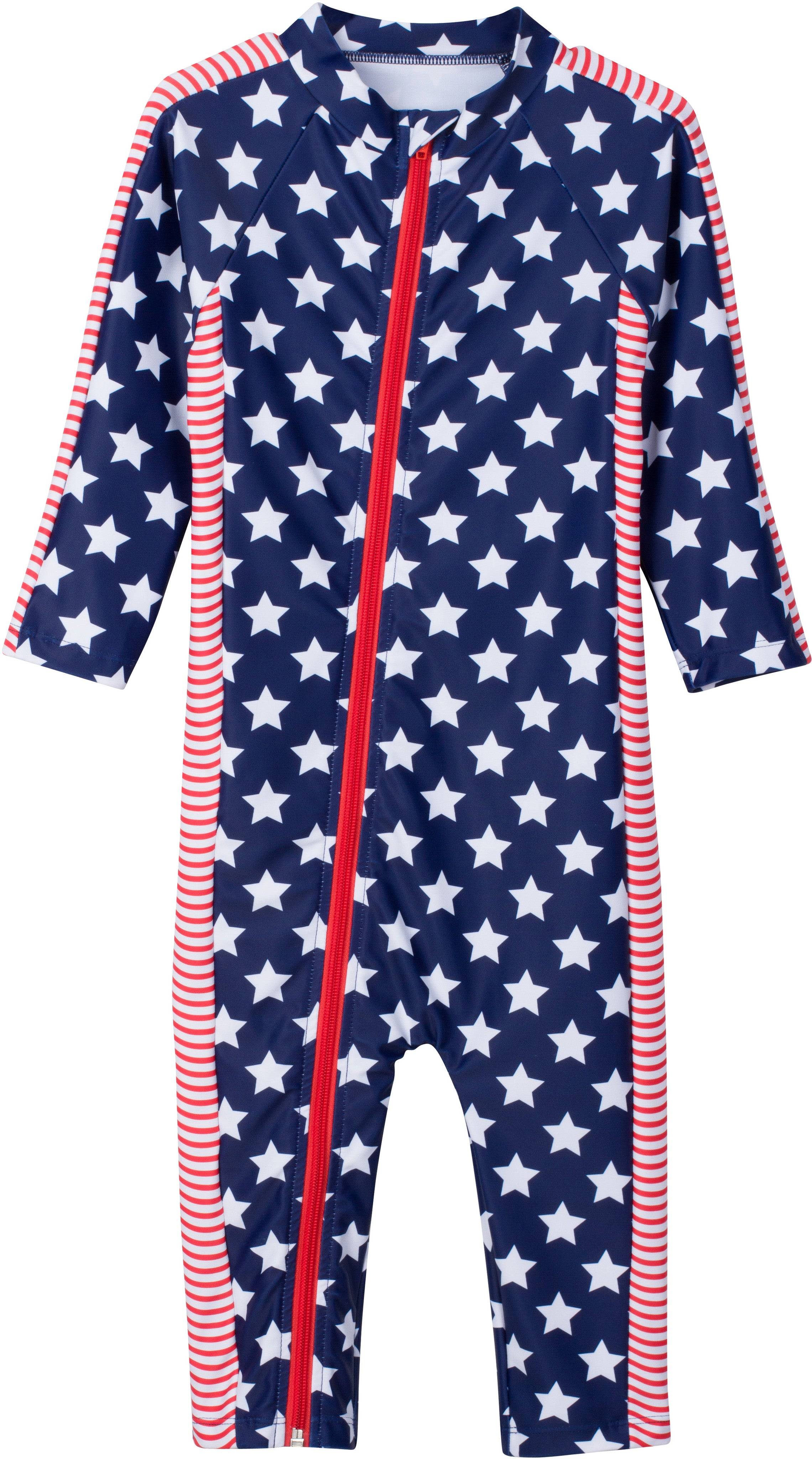 "Long Sleeve Romper with UPF 50+ UV Sun Protection - "" July 4th Fun"""