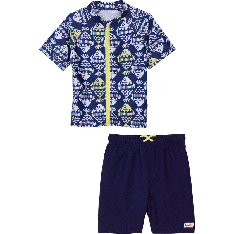 "Boy's Short Sleeve Rash Guard Swimsuit Set - ""Fish Bone Babe""-0-3 Month-Navy-SwimZip UPF 50+ Sun Protective Swimwear & UV Zipper Rash Guards-pos1"