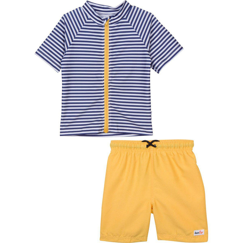"Little Boy Short Sleeve Rash Guard Set - ""Hang 10"" Navy Stripe-0-3 Month-Yellow-SwimZip UPF 50+ Sun Protective Swimwear & UV Zipper Rash Guards-pos1"