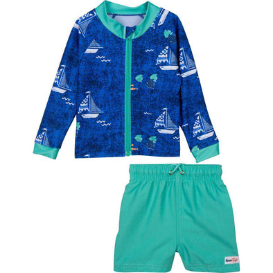 Little Boy Long Sleeve Rash Guard Swimsuit Set (2 Piece) with SPF 50+ - Captain Kid