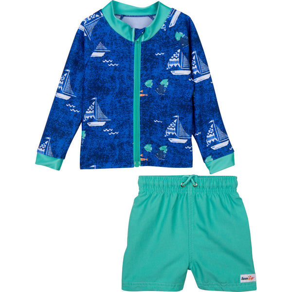 "Baby Boy Long Sleeve Rash Guard Swimsuit Set (2 Piece) with SPF 50+ - ""Captain Kid"""