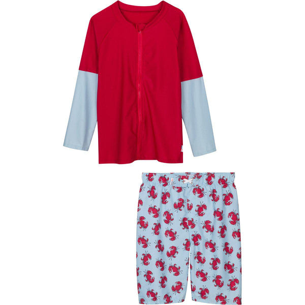 "Little Boy Long-Sleeve Rash Guard Set UPF 50+ - ""Crabby Pants"""
