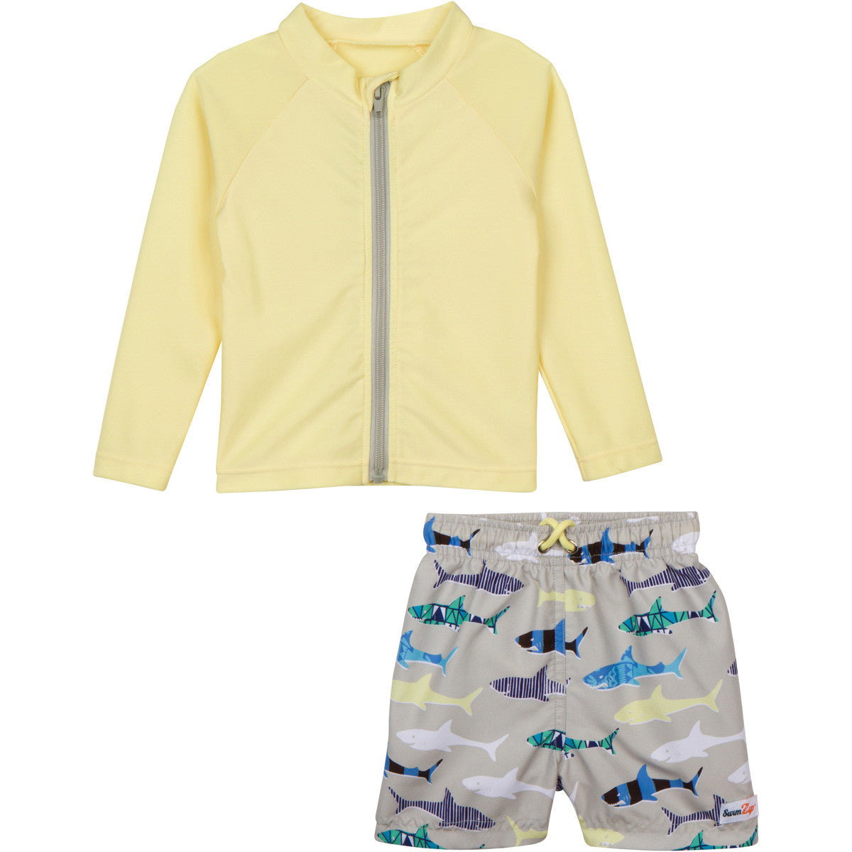 newborn boy rashguard set zipper zip swim shirt top by swimzip shark