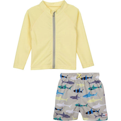 little boy yellow shark rashguard set zipper zip swim shirt top by swimzip for baby toddler