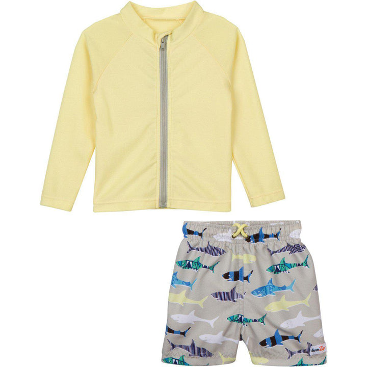 "Little Boy Long Sleeve Rash Guard Swimsuit Set (2 Piece) with SPF 50+ - ""Shark Feast"" - SwimZip Sun Protection Swimwear"