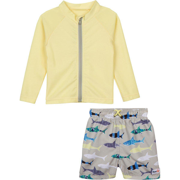 "Little Boy Long Sleeve Rash Guard Swimsuit Set (2 Piece) with SPF 50+ - ""Shark Feast"""
