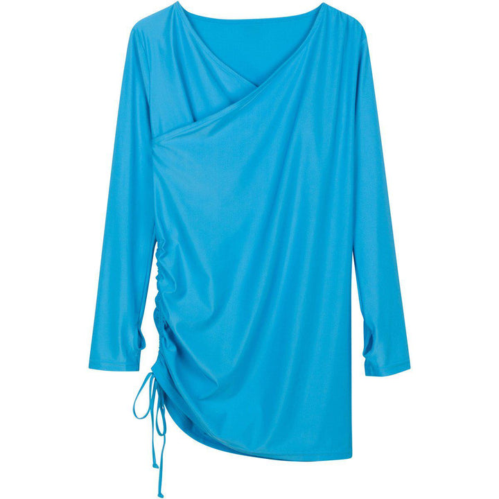 "Women's Sophisticated Swim Dress Cover Up - ""Turquoise Waters"" - SwimZip Sun Protection Swimwear"