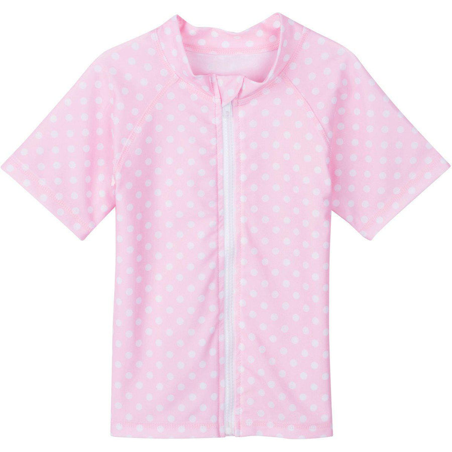 Girl Zipper Rash Guard Swim Shirt UPF 50+ UV SPF Pink Polka Dot Short Sleeve-6-12 Month-Pink Polka Dot-SwimZip UPF 50+ Sun Protective Swimwear & UV Zipper Rash Guards-pos1