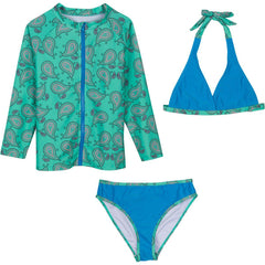 Tween Girl Long Sleeve Rash Guard Set (3 Piece) -