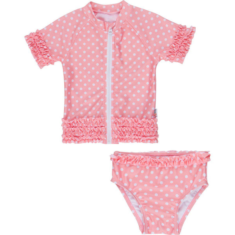 "Girl's Short Sleeve Rash Guard Swimsuit Set (2 Piece) - ""Sassy Surfer"" - Multiple Colors-6-12 Month-Melon-SwimZip UPF 50+ Sun Protective Swimwear & UV Zipper Rash Guards-pos4"