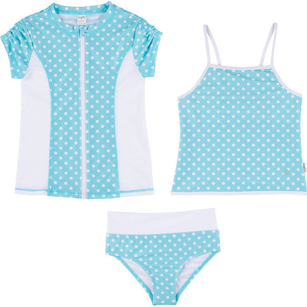 Big Girl Zipper Rash Guard Swimsuit Set UPF 50+ with Tankini | Turquoise Twist