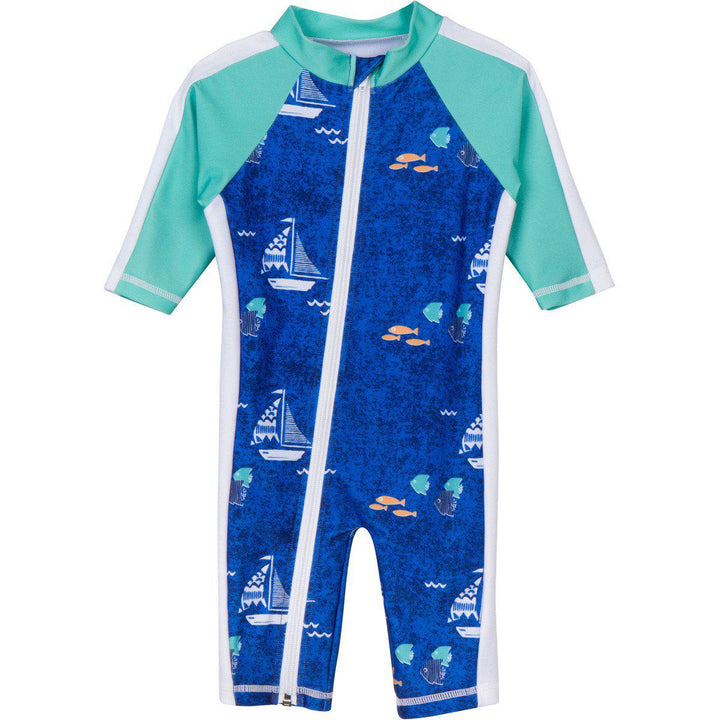 "Sunsuit - Boy Long Sleeve Romper with UPF 50+ UV Sun Protection ""Captain Kid"" - SwimZip Sun Protection Swimwear"