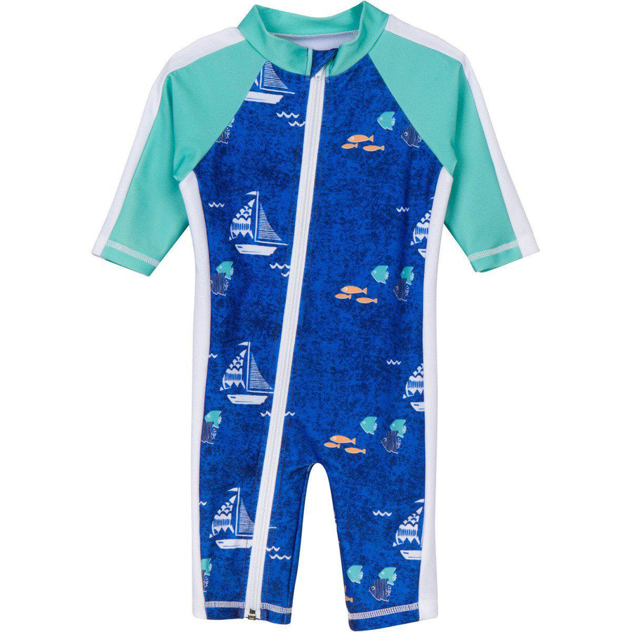 "Sunsuit - Boy Long Sleeve Romper with UPF 50+ UV Sun Protection ""Captain Kid""-0-6 Month-Blue-SwimZip UPF 50+ Sun Protective Swimwear & UV Zipper Rash Guards-pos1"