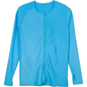 Women's Long Sleeve Zip Front Rash Guard UPF 50+ Turquoise