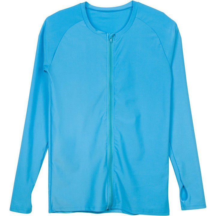 "Women's Long Sleeve Zip Front Rash Guard UPF 50+ - ""Turquoise Waters"" - SwimZip Sun Protection Swimwear"